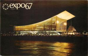 Montreal Quebec~Expo 67~Soviet Union Pavilion at Night~1967 Postcard