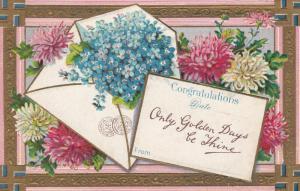 SWASTIKA Good luck Violet Flowers Greeting , 1909