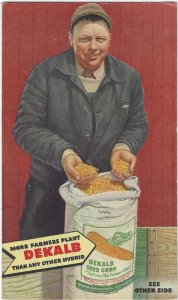 Vtg 1946 Dekalb Seed Corn Ad Farmer Postcard