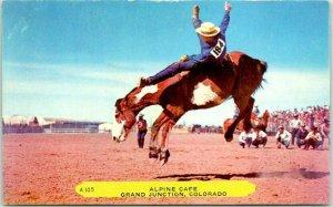 Grand Junction, Colorado Postcard ALPINE CAFÉ Restaurant / Rodeo Scene Rembrant
