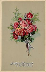 Red Yellow Pink Roses Bouquet~Gray Back~Silver Filigree~Emb~Ser 5304 GEL Germany