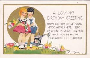 Loving Birthday Greeting Young Children In Garden