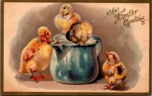 Easter baby chicks with pitcher delicately softly rendered c1908 vtg postcard