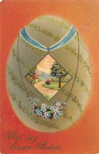 LP38  Easter Postcard Beautiful Decorated Egg Necklace Jewelry