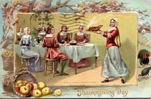 Thanksgiving With Pilgrims Dining 1910 Tucks