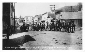 RPPC Freight Teams, Covered Wagons Canyon City, OR in 1910 c1950s Postcard
