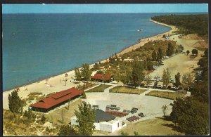 Ontario ~ SARNIA Aerial View of Canatara Park and beach  - Chrome 1950s-1970s