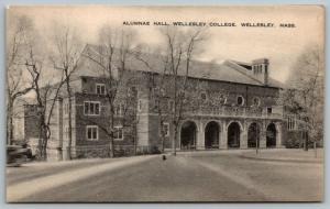 Wellesley Massachusetts~Wellesley College~Allumnae Hall~1936 Sepia Litho PC