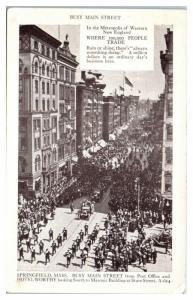 1912 Main Street Parade Hotel Worthy & Masonic Building, Springfield MA Postcard