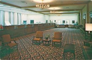 Columbiana Ohio~National Union Bank~Interior Lobby~Teller Windows~1960s Postcard