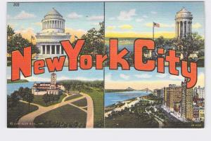 BIG LARGE LETTER VINTAGE POSTCARD GREETINGS FROM NEW YORK CITY #1