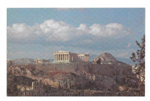 Greece Athens Acropolis In Flight with TWA Vtg Ad Postcard