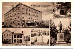 Missouri Hannibal Mark Twain Hotel Museum Home Cave Statue & More 1941