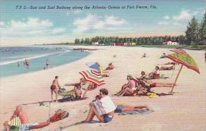 Sun And Surf Bathing Along The Atlantic Ocean At Fort Pierce Florida