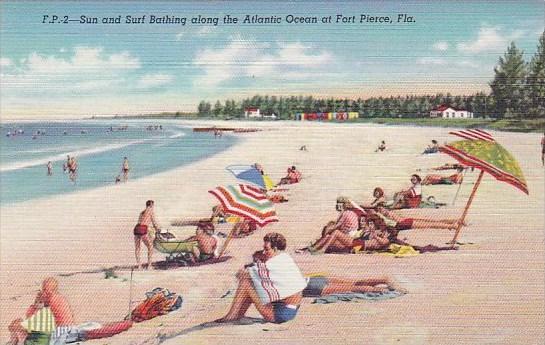 Sun And Surf Bathing Along The Atlantic Ocean At Fort Pierce Florida