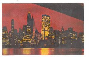 Night View of Lower Manhattan seen from Brooklyn, Towers of Wall Street, New ...
