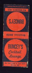 Brockton, Massachusetts/Mass/MA Matchcover, Buncey's Cocktail Lounge, Route 28