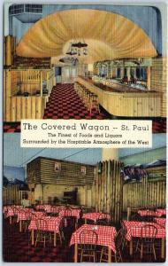 St. Paul, Minnesota Postcard THE COVERED WAGON Bar Restaurant Line c1940s Unused