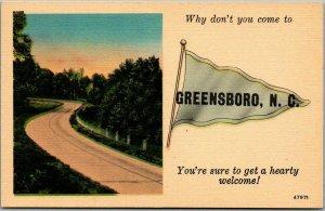 GREENSBORO, North Carolina Postcard Road View / Blue Pennant LINEN c1940s Unused