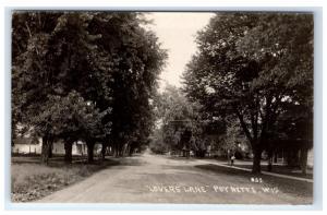 Postcard Lovers Lane, Poynette, Wisconsin WI RPPC H14
