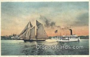 Steamer Southport, Boothbay Harbor, Maine, ME USA Sail Boat Postcard Post Car...