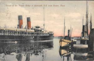Boston Massachusetts Sir Prince Arthur Yarmouth Boat Antique Postcard K72777