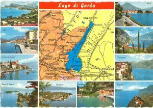 Italy, Lago di Garda, multi view, used Postcard