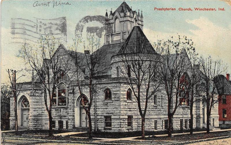 Indiana In Postcard 1909 WINCHESTER Presbyterian Church Building