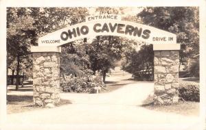 West Liberty Ohio Caverns~Nature's Fairyland~Stone Pillar Arch RPPC 1930s Cars
