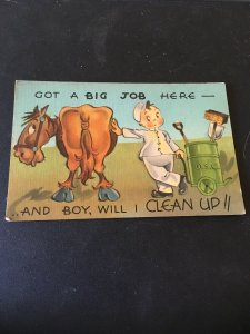 Vintage Postcard -  Got A Big Job Here- And Boy Will I clean up  , Humor