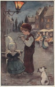 AS: Dutch children drinking water from public fountain at night, Dog, PU-1916