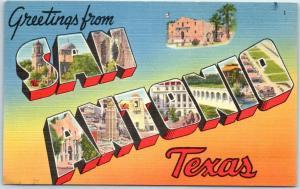 SAN ANTONIO Texas Large Letter Postcard w/ Alamo - Tichnor Linen 1954 Cancel