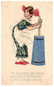 Christmas  , Woman churning Butter