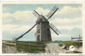 Old Windmill Built 1746 Nantucket Massachusetts Old Curteich Vintage Postcard