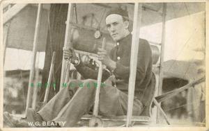 1911 Pioneer Aviation Postcard: W. G. Beatty at Biplane Controls - Rare!