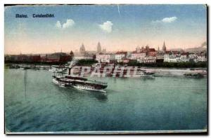 Old Postcard Mainz Totalansichtt Boat