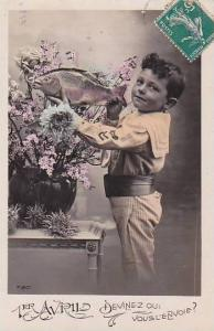 1er Avril April Fool's Day Young Boy Holding Fish 1911