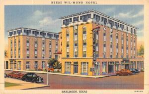 Harlingen Texas Reese Wil Mond Hotel Street View Antique Postcard K46943