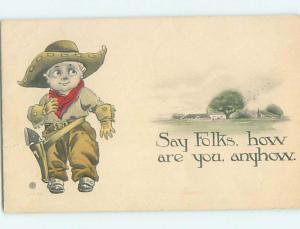 Pre-Linen western BOY DRESSED AS A COWBOY WITH HOLSTER AND GUN HL6781
