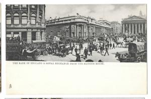 Busy Street Scene with Horse Drawn Omnibuses At Bank of England, Unposted Tuck