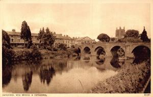Hereford Wye Bridge & Cathedral River Postcard