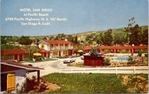 Motel San Diego CA @ Pacific Beach Hwy (US 101)~Monterey Furniture~Coffee~1950s