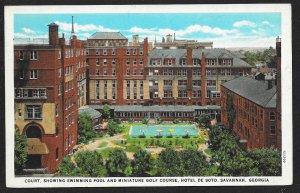Swimming Pool Miniature Golf Course Hotel De Soto Savannah Georgia Unused c1930s