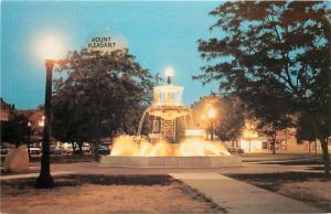 Mt Pleasant Iowa~Central Park~Edd King Memorial Fountain~1960s Postcard