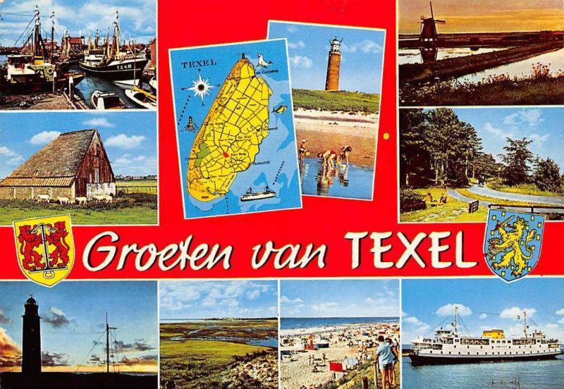 Netherlands Groeten von Texel Map Harbour Fishing Boats Lighthouse Mill Ship