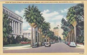 California Sacramento View On Tenth Street Showing State Library and Courts B...
