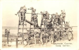 RPPC CAMP CALLAN, CA US Army Obstacle Course Soldiers Military Postcard ca 1940s