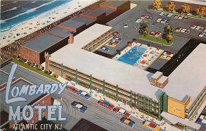 Atlantic City NJ~Lombardy Motel~Kentucky Ave~Artist Drawn~Primary Colors~1950s