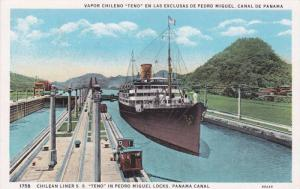 Steamer, Chilean Liner S. S. Teno In Pedro Miguel Locks, Panama Canal, Pana...