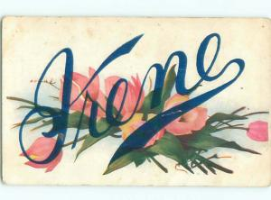 c1910 THE NAME IRENE - SPELLED IN BIG FLOWERS AC4252
